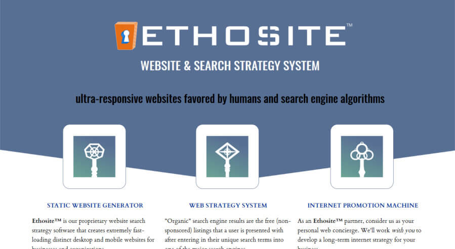 Ethosite Website Search Strategy System